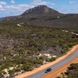 car driving away from mountain in Fitzgerald River National Park