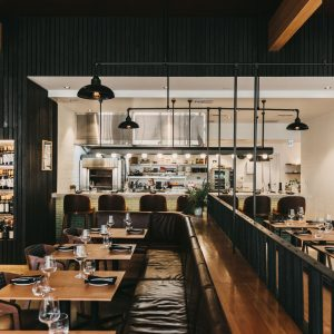 An interior image of a modern styled restaurant shows a location for good food and wine and gourmet delights while on The South West Edge road trip